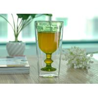 Quality Creative Handmade Stemware Double Wall Wine Glasses Light Green Colored wholesale