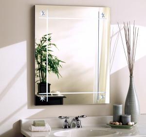 Quality Silver Wall Mount Bathroom Mirror With Lights / Clear Anti Steam Bathroom Mirror wholesale