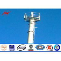 China Conical 90ft Galvanized Mono Pole Tower , Mobile Communication Tower Three Sections on sale