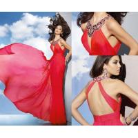 Quality Luxurious Red Chiffon Halter Neck Prom Dresses / Open Back Ladies Long Dresses wholesale