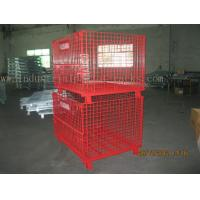 Quality Epoxy Powder Coating Painting Red Wire Mesh Container Heavy Weight 2000lbs Loaded wholesale