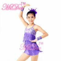 Quality Biketard Confetti Sequin Fringe Dress Kids Purple Latin Dance Costumes wholesale