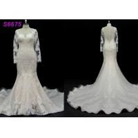 Quality long sleeves customize made lace application bridal gown wedding dresses wholesale
