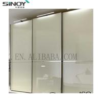 China 2019 New Fashion White Lacquered Glass Wardrobe Sliding Door For Furniture Deco on sale