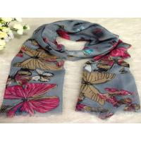 Quality Butterfly Pink Gray Ladies Rayon / Voile Scarves ,202 * 96cm wholesale