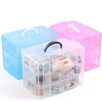 China Fashionable Portable Plastic Storage Boxes With Detachable Three Layers on sale