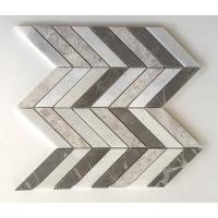 Quality Chevron Brown Silver Marble Mixed Mosaic Tiles , 12x12 Mosaic Tile Sheets wholesale