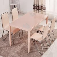 Quality Rectangular Glass Top Dining Room Table , Tempered Glass Top Dinette Sets pink color wholesale