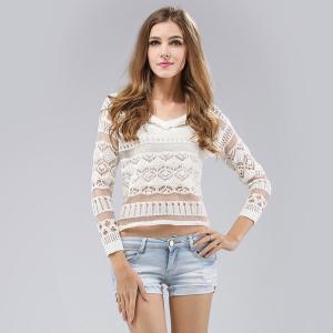 Quality Customized Long sleeve curvy hem lady transparent sexy blouse top v neck wholesale