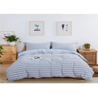 Quality Stripe Design Home Bedding Sets 200TC Washed Cotton With Blue Color wholesale