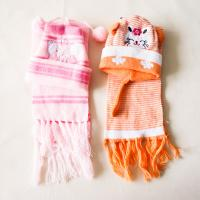 Quality Cartoon animal  cat pattern knitted acrylic plush warm hats scarves sets with tassels ear children hat snow caps wholesale