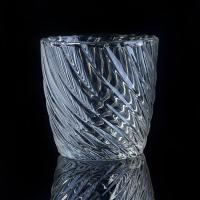 Quality Hot Popular 8OZ Wax Twisted Lines glass cylinder candle holders For Decor wholesale
