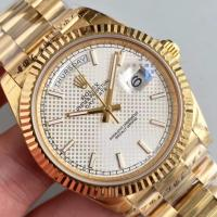 Buy cheap Wholesale 2016 Rolex Day-Date 228239 Full Yellow Gold 40mm Automatic 3255 White Dial Stick Marks Fluted Bezel Watch from wholesalers