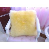 Quality Yellow Sheepskin Floor Cushion With Zipper , Lambswool Seat Soft Fuzzy Pillows  wholesale