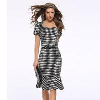 Quality 20713 European Latest New 2018 Mature Ladies Dress Plaid Images Hot Selling wholesale