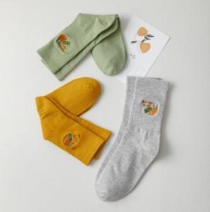 China Wholesale New Embroidery Orange Fruits Women Socks Cotton Knitted Women Tube Socks on sale