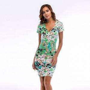 Quality Fashion Slim Floral Ladies Casual Summer Dresses / Deep V Neck Print Bodycon Pencil Women Dresses wholesale