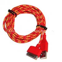 Quality Red Color 30 Pin To USB Sync And Charge Cable Covered with Nylon , Two Sided wholesale