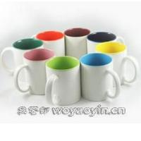 Quality Export SGS/ROHS/CE International certification inside colors printting LOGO ceramic coffee mug with handle 7102 mark cup wholesale