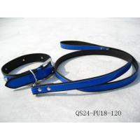 China Glossy Blue Face PU Leather Material Pet Leashes and Collars for Dogs on sale
