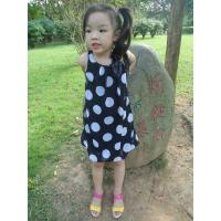 Quality Sequences Little Girls Polka Dot Dress , Bow Shoulder Childrens Chiffon Dresses wholesale