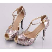 China 2014 hot sale women padded paillette dress shoes  peep toe T-Strap dancing platform sandal on sale