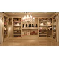 Quality Luxcury Indoor Villa Furniture wood in-wall Wardrobe room by ivory white with mirror wholesale
