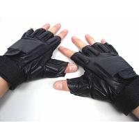 Quality Black Half Finger Tactical Gloves,Made By Soft Leather And Elastic Fiber wholesale