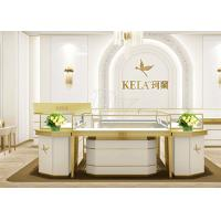 Quality Rectangle Jewelry Showroom Display Cabinets Gold Stainless Steel Wood Material wholesale