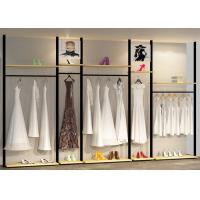 Quality Light Weight Clothes Display Stand Laminate Of Walnut , Iron Baking wholesale