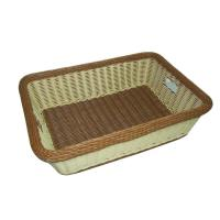 Quality Washable Rectangular Plastic Wicker Laundry Basket Rattan Brown For Towels And Clothes wholesale