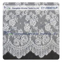 Quality Chantilly Lace Fabric Eyelash Lace Trim For Womens Dress , White And Gray wholesale