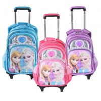 China Cute Disney 5D Frozen Anna and Elsa Princess School Bag Trolley Bag For Teenagers on sale
