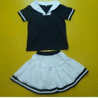 Quality Navy And White Boy And Girl Matching Outfits With Polo Shirt Skirt Pant Customized Size wholesale