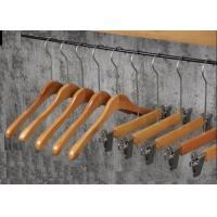 China Garment Shop Non Slip Clothes Hangers With Two Clips Birch Solid Wood Material on sale