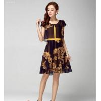 China 2015 New Style in Summer floral embroidery printed elegant chiffon dress on sale