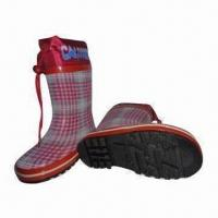 Quality Children's fabric feel rubber boots/children's fashion boots, 100% waterproof wholesale