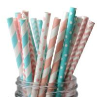 Quality A variety of flower and color mixed color paper straw with spiral wave pattern wholesale