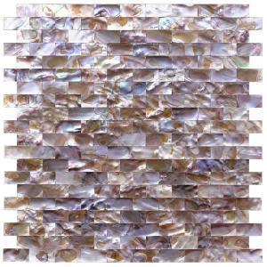 Quality Mini Brick Natural Oyster Shell Tile , Split Faced Pool Mosaic Tiles wholesale