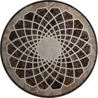 Quality Emperador Flower Mosaic Tile Wall Art , Round Outdoor Mosaic Art Projects wholesale