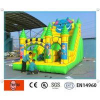 Quality Outdoor playground double lane Inflatable Dry Slides , bounce house with slide wholesale