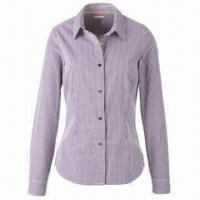 China Ladies Long Sleeve Shirt/Top/Uniform, Made of 100% Cotton, Competitive Price/OEM/ODM Orders Welcomed on sale