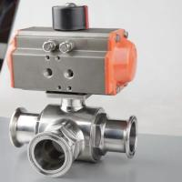 China Hygienic Stainless Steel Three Way Tri Clamp Ball Valve With Pneumatic Actuator on sale