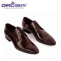 Quality Lace Up Man Shoes , Genuine Leather Pointed Toe Man Dress Shoes With Italy Design wholesale