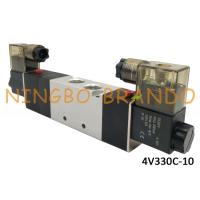China AC220V DC24V 3/8'' Pneumatic Solenoid Valve 5/3 Way 4V330C-10 With Aluminum Body For Automation Machine on sale