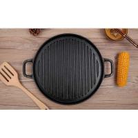 Quality Thick cast iron uncoated circular griddle commercial barbecue grill outdoor picnic cooker wholesale