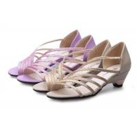 Cheap Low Heel Purple Summer Fashion Sandals With PU Straps Hollow Upper Back Counter for sale