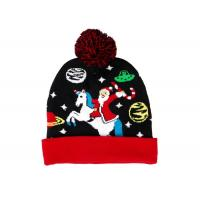 Quality LED Jacquard Cable Knitted Warm Bobble Hat Soft Women Christmas Beanie With Pompom wholesale