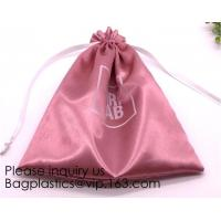 China Gold Blue White Satin Packaging Bag For Towel,White Satin Bag With Gold Printing,Silk Packaging Bags For Clothing Indust on sale