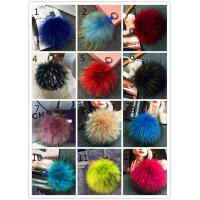 Quality Nice color raccoon fur pom pom keychain diameter 15 cm and 19 cm bigger size wholesale